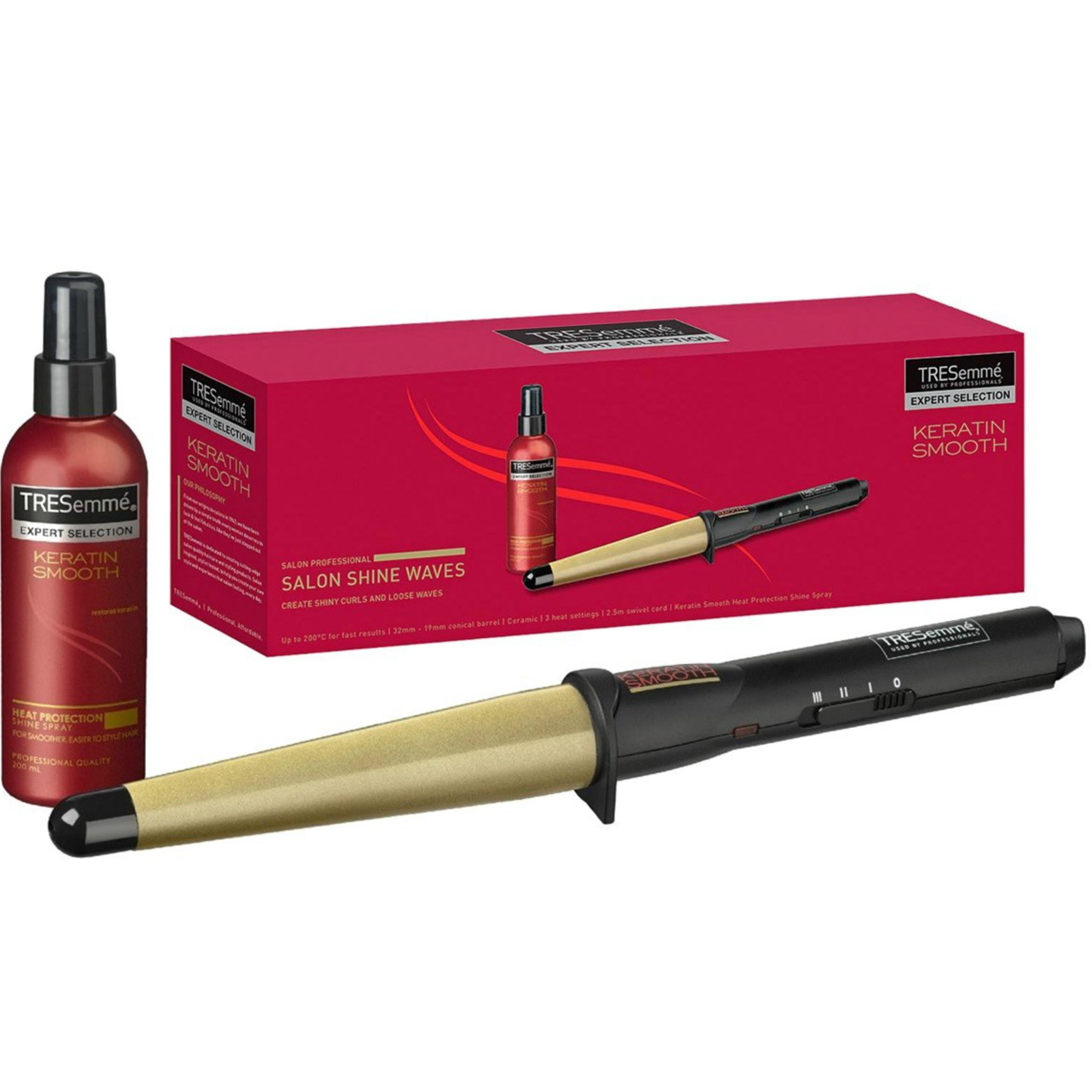TRESemme Keratin Professional Wand Tong | Smooth Hair Curler | Shine Spray | 2804KU