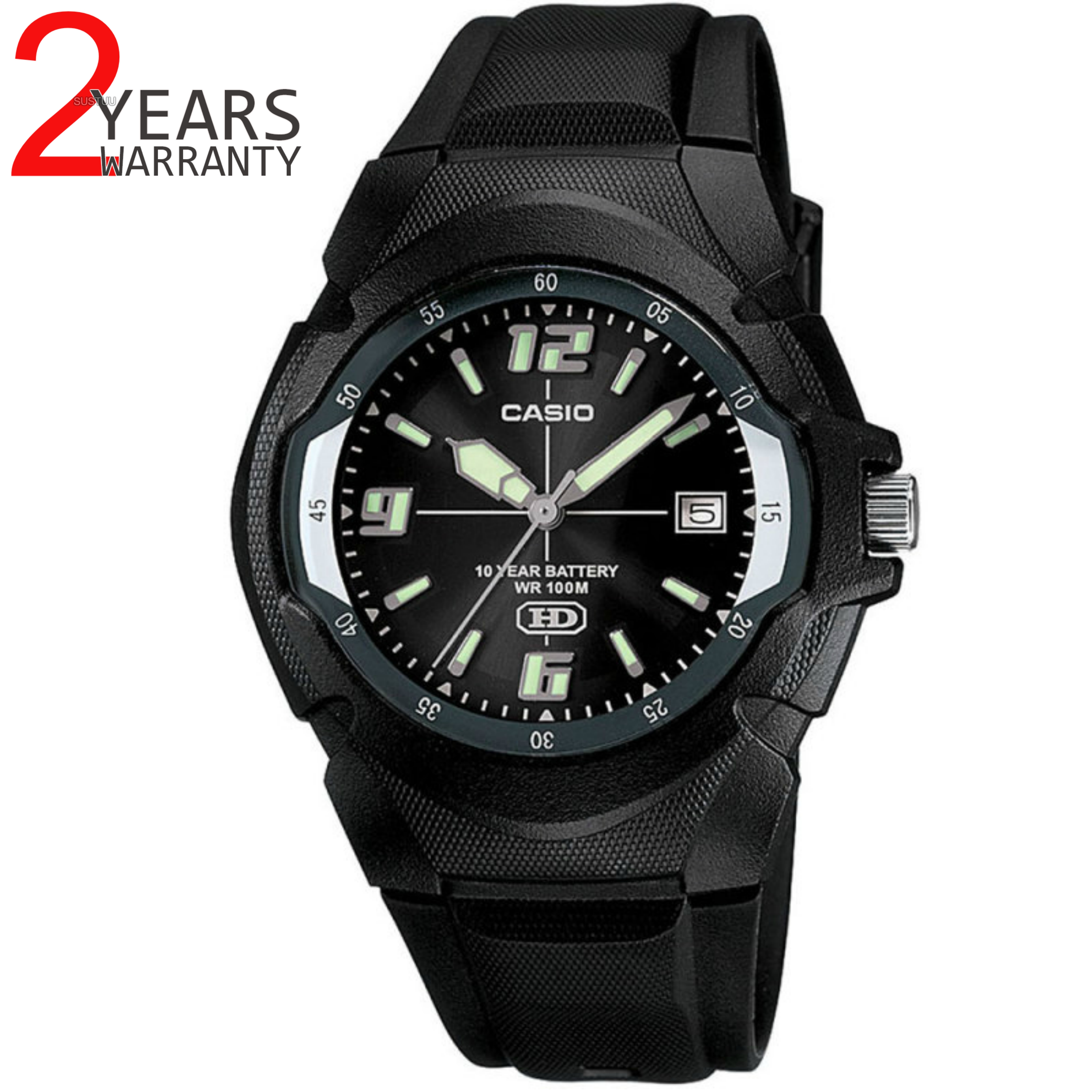 Casio MW600F-1AVER Men's Enticer Series Watch|100M Water Resistance|Resin|Black|