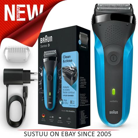 Braun 310s Series 3 Mens Electric Face Stubble Shaver|Rechargeable|Wet & Dry Use Thumbnail 1