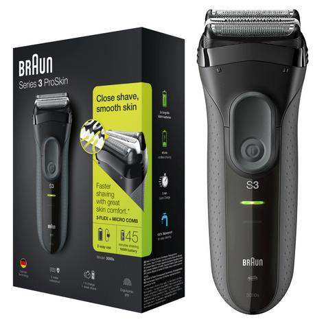 Braun Series 3 ProSkin 3000s Men Electric Rechargeable Shaver| Smooth Razor| Black Thumbnail 1