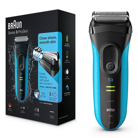 Braun 3040S Series 3 ProSkin Wet & Dry Use Electric Rechargeable Shaver - Blue  Thumbnail 1