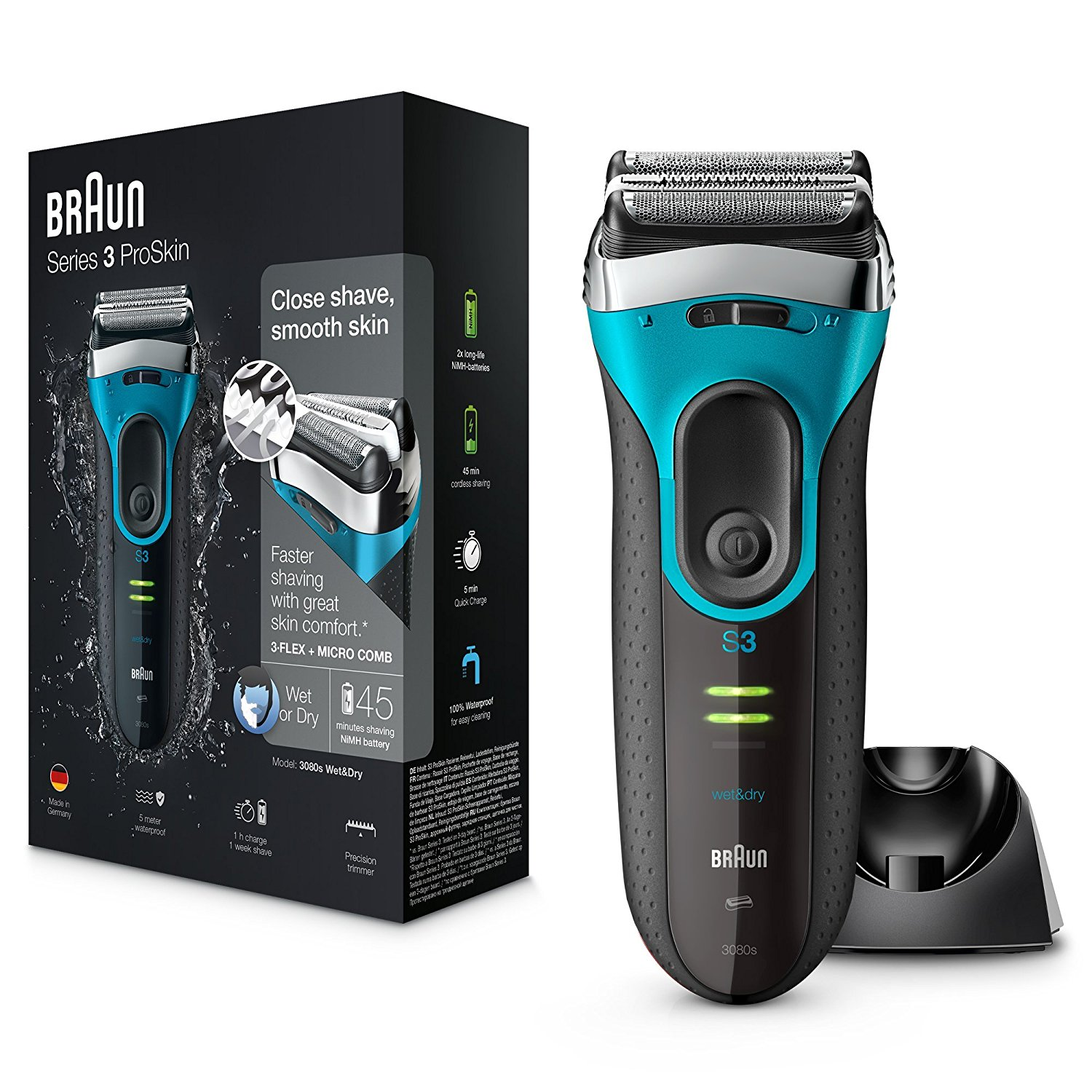 Braun Series 3 ProSkin 3080s Wet and Dry Electric Shaver|Men|Rechargeable|Blue