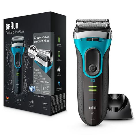Braun Series 3 ProSkin 3080s Wet and Dry Electric Shaver|Men|Rechargeable|Blue Thumbnail 1