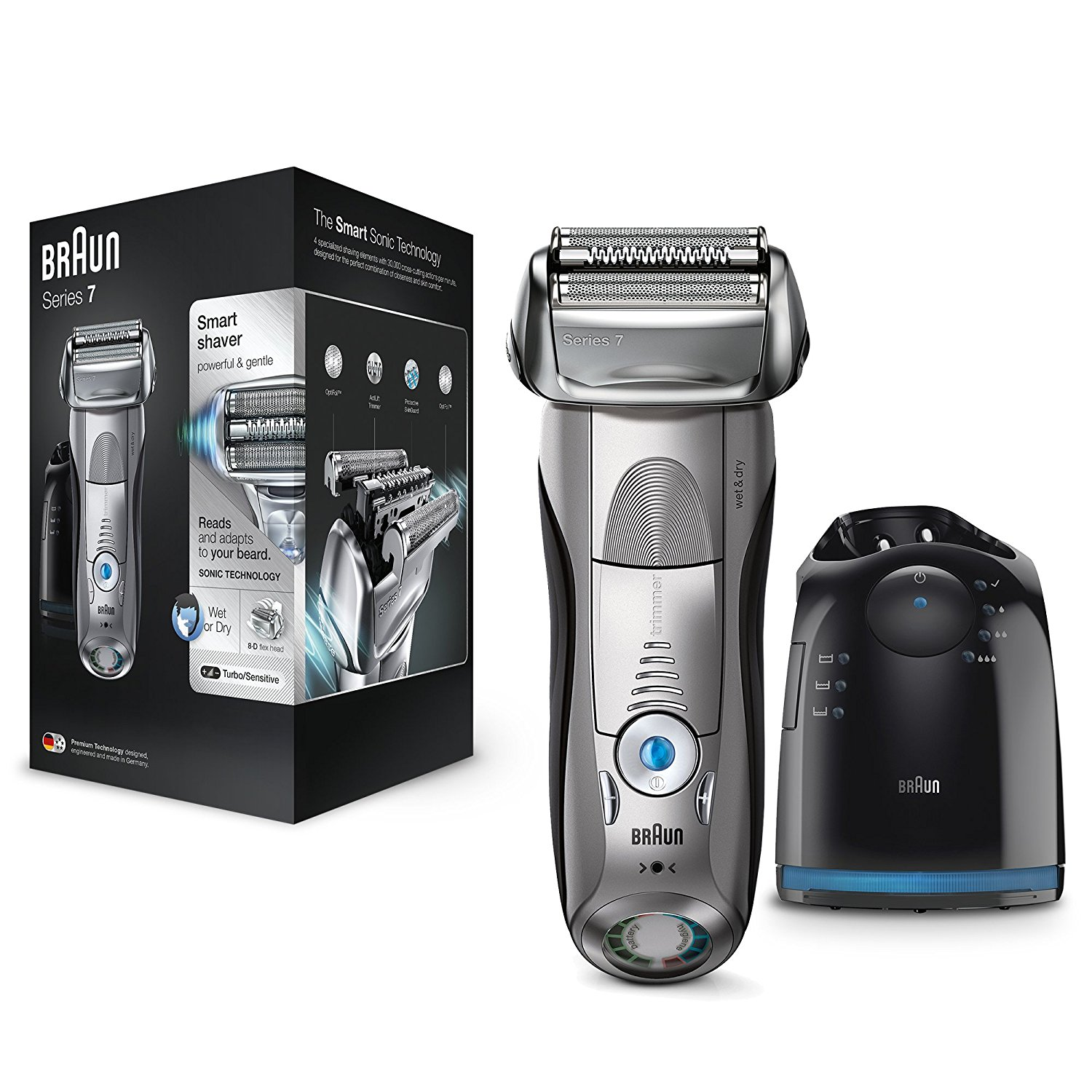 Braun Series 7 7898cc Men's Electric Foil Shaver|Wet/Dry + Clean|Charge Station|Silver|
