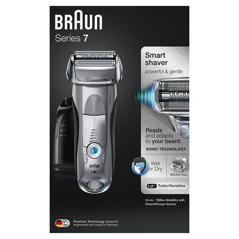 Braun Series 7 7898cc Men's Electric Foil Shaver|Wet/Dry + Clean|Charge Station|Silver| Thumbnail 7