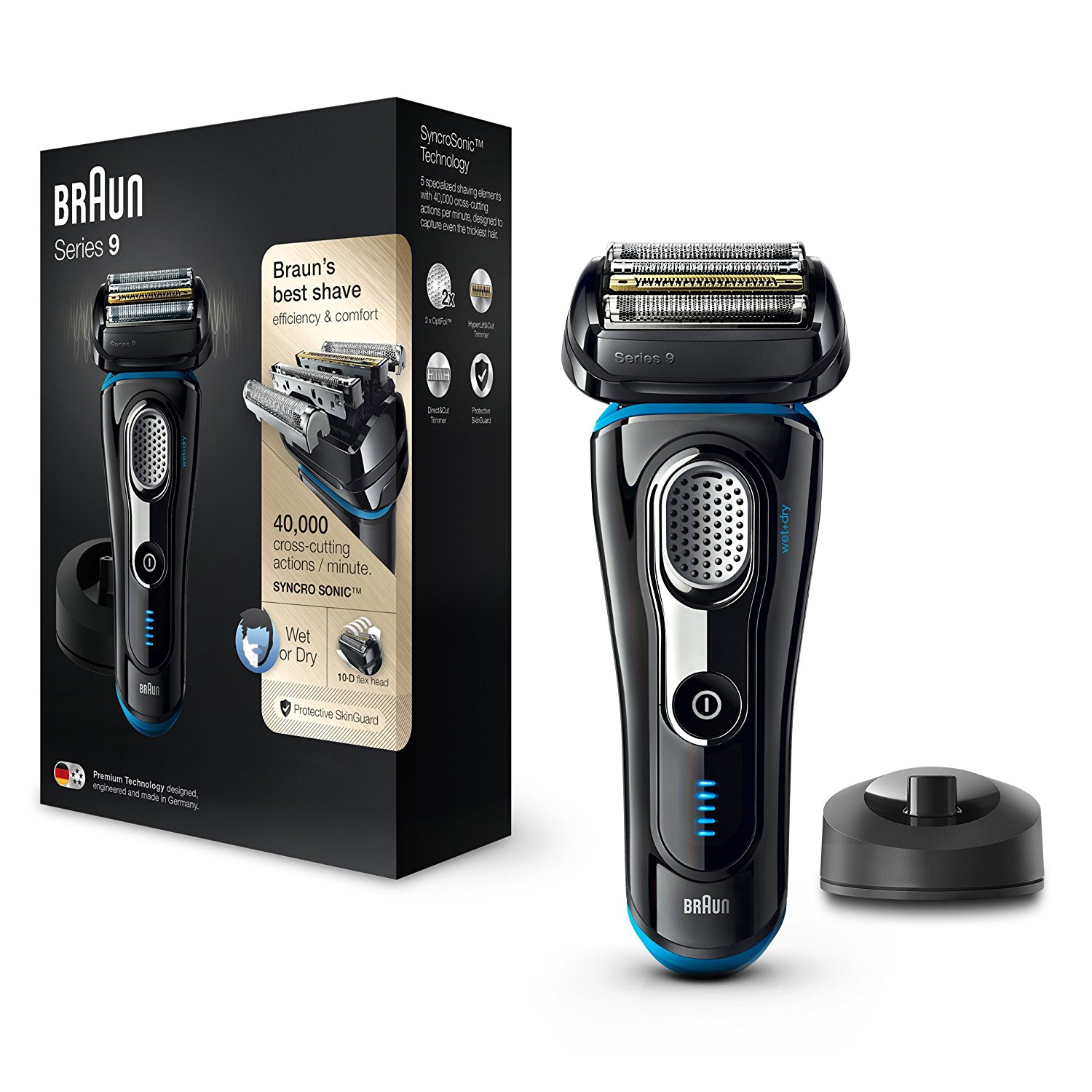 Braun Series 9 9240s Men's Electric Rechargeable Foil Shaver|Wet&Dry|Black/Blue