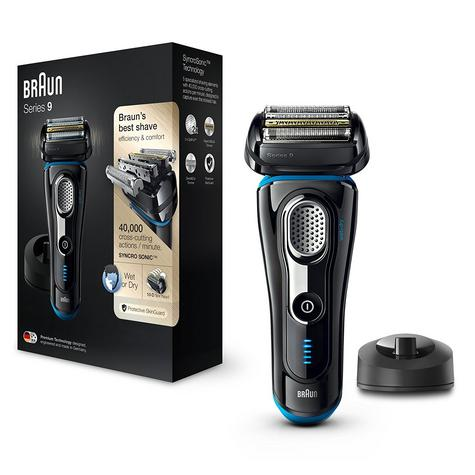 Braun Series 9 9240s Men's Electric Rechargeable Foil Shaver|Wet&Dry|Black/Blue Thumbnail 2