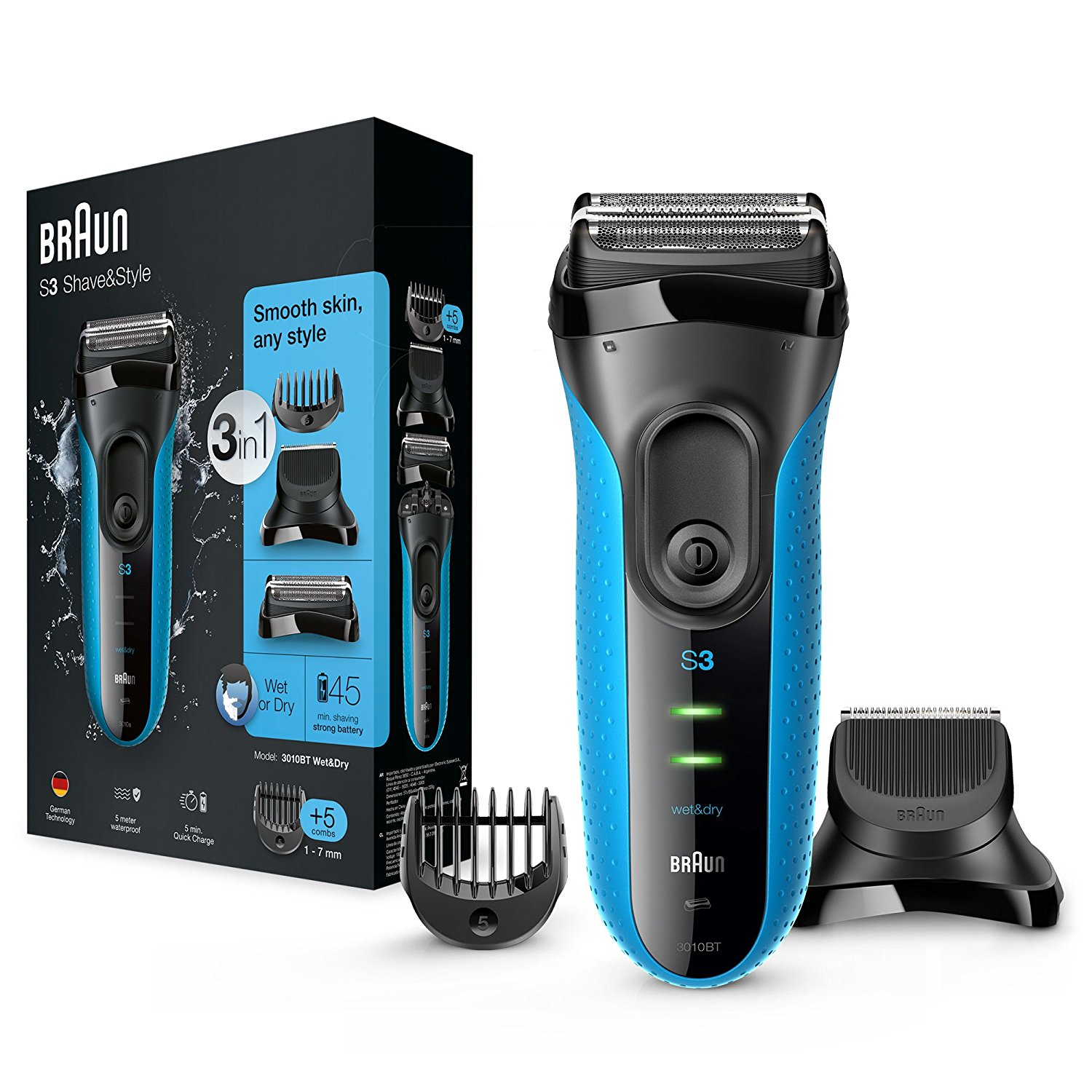 Braun 3010BT Series 3 Shave & Style Mens Shaver|Wet & Dry|Electric Razor Trimmer