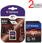 Verbatim 64GB Class 10 SDXC Premium Memory Card | Storage for Digital Cameras | 104MB/s