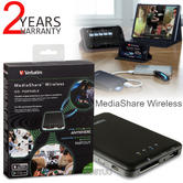 Verbatim 98243 MediaShare Wireless Portable Streaming Device|Wireless 802.11 b + g|WiFi|Black