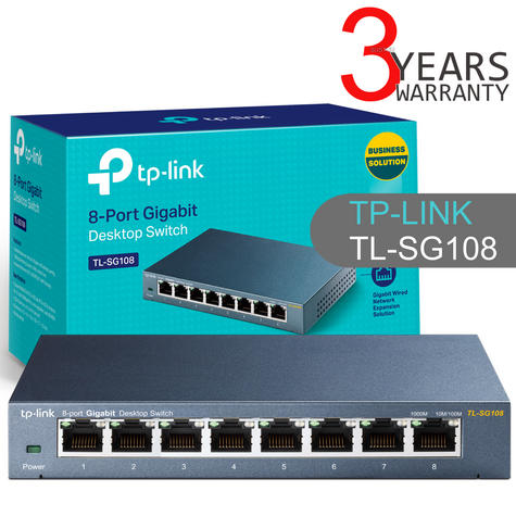 TP-Link TL-SG108|8-Port 10/100/1000Mbps Desktop Switch|IEEE 802.3x|Plug and Play Thumbnail 1