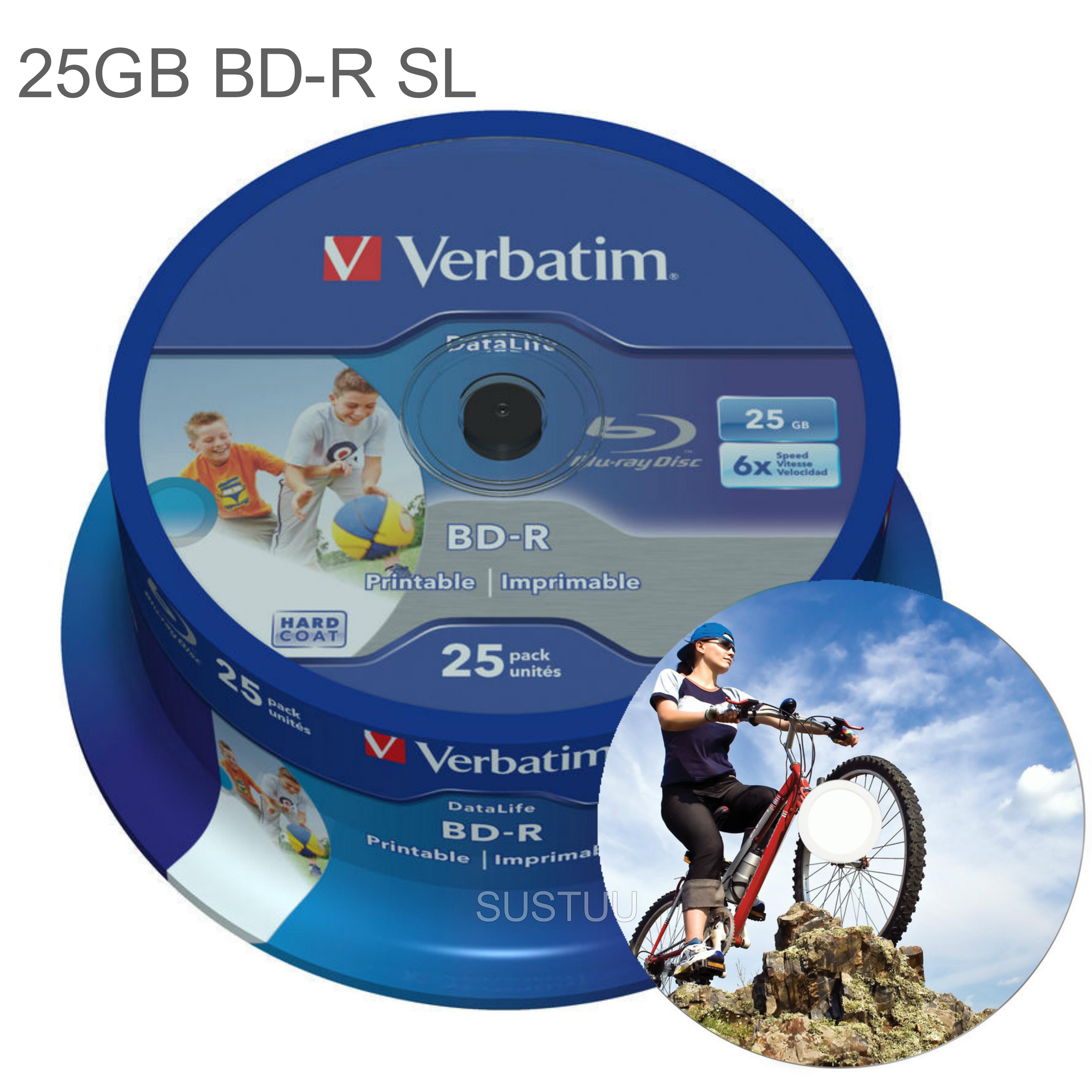 Verbatim 25GB 6x BD-R SL Wide Inkjet Printable Blu-ray Discs | 25 Pack Spindle | Pack of 2