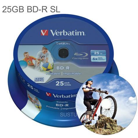 Verbatim 25GB 6x BD-R SL Wide Inkjet Printable Blu-ray Discs | 25 Pack Spindle | Pack of 2 Thumbnail 1
