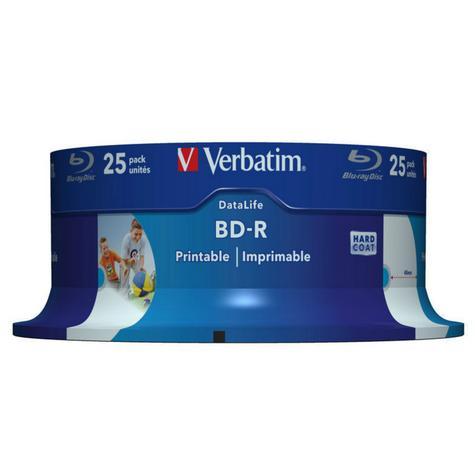 Verbatim 25GB 6x BD-R SL Wide Inkjet Printable Blu-ray Discs | 25 Pack Spindle | Pack of 2 Thumbnail 2