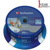 Verbatim 25GB 6x BD-R SL Wide Inkjet Printable Blu-ray Discs|25 Pack Spindle|43811