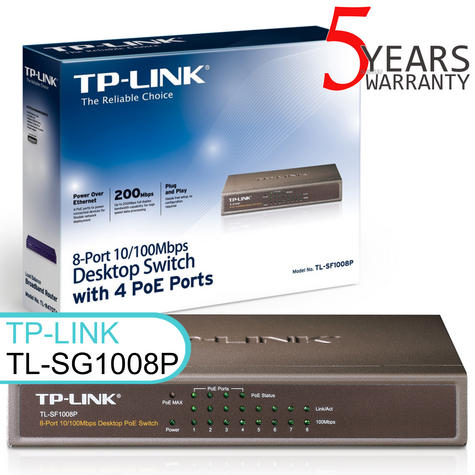 TP-Link TL-SF1008P|8-Port 10/100/1000 Mbps Desktop Switch with 4-Port 15.4W PoE Thumbnail 1