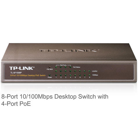 TP-Link TL-SF1008P|8-Port 10/100/1000 Mbps Desktop Switch with 4-Port 15.4W PoE Thumbnail 2