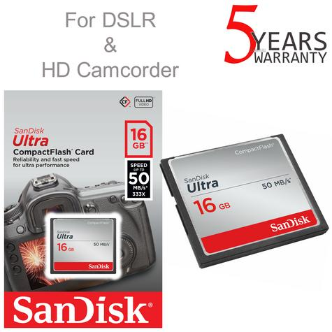 SanDisk 16 GB Ultra Compact Flash CF Memory Card | 50 MB/s | For DSLR & HD Camcorders Thumbnail 1