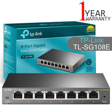 TP-Link TL-SG108E|8-Port 10/100/1000Mbps Gigabit Easy Smart Switch|Plug and Play Thumbnail 1