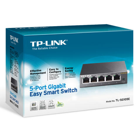 TP-link TL-SG105E|5-Port Gigabit Easy Smart Switch|Plug & Play|Durable Metal Case Thumbnail 4