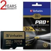 Verbatim 44033 Pro+ 32GB microSDXC U3 SD Card|UHS-I V30 Class 10 Memory Card