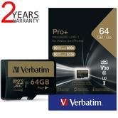 Verbatim 44034 Pro+ 64GB microSDXC U3 SD Card|UHS-I V30 Class 10 Memory Card