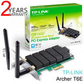 TP-Link Archer T6E|AC 1300 Wireless Dual Band PCI Express Adapter|Two Antennas