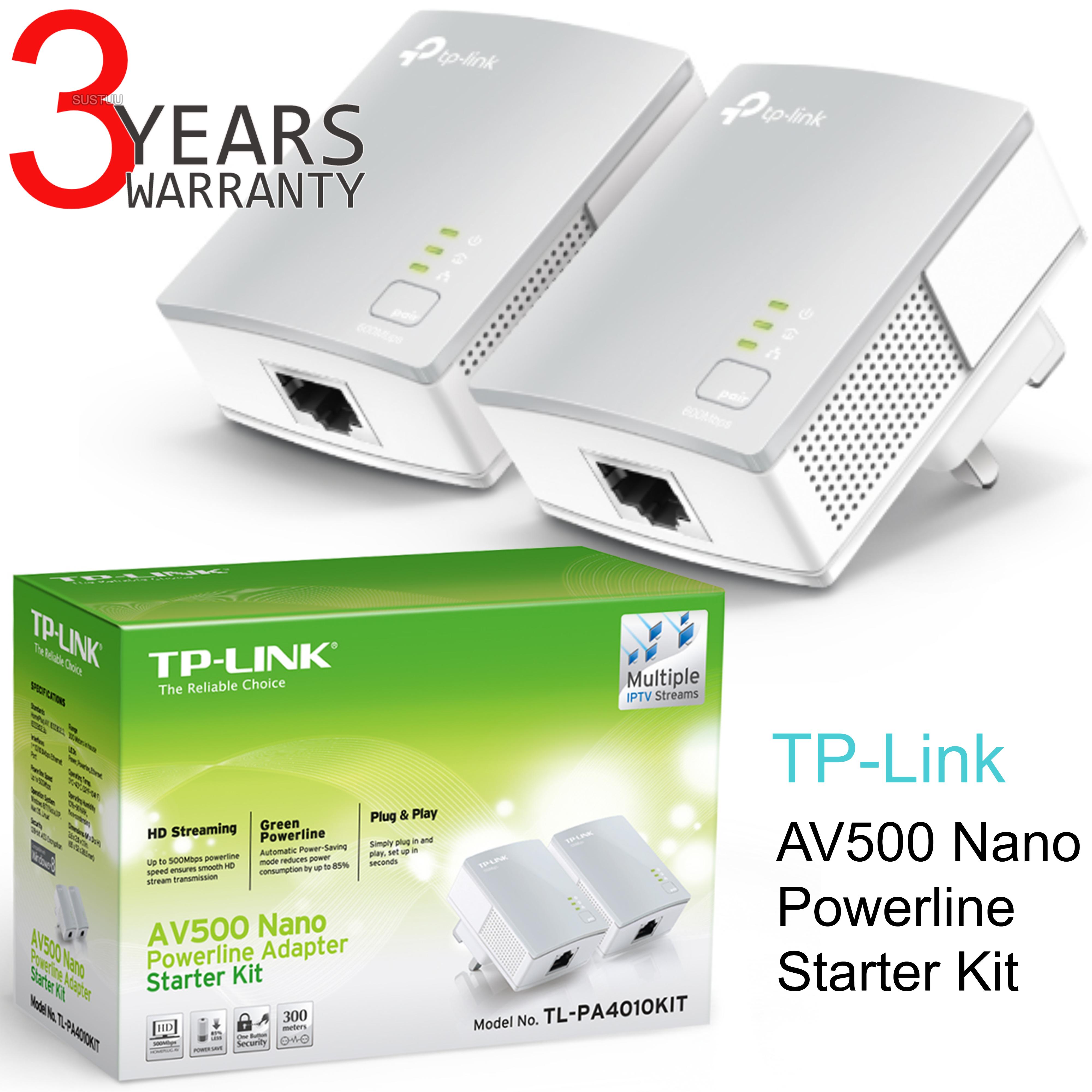 TP-Link AV500 Nano Powerline Adapter Starter Kit|TL-PA4010KIT|Use Home TV-Gaming