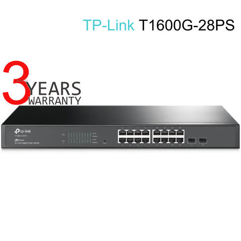 TP-Link T1600G-28PS|JetStream 24-Port Gigabit Smart PoE+ Switch with 4 SFP Slots Thumbnail 1