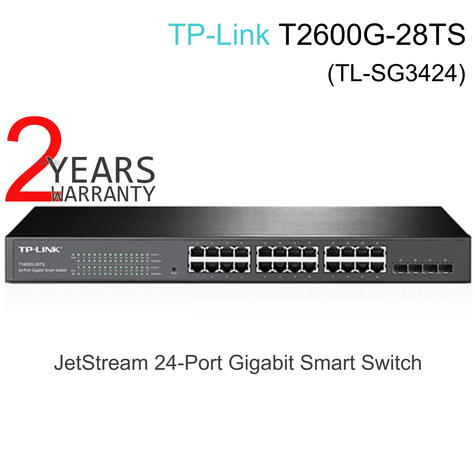TP-Link T2600G-28TS|JetStream 24-Port Gigabit L2 Managed Switch + 4 SFP Slots Thumbnail 1