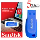 SanDisk 64GB Cruzer Blade Electric Blue USB 2.0 Flash Drive/ Memory Stick | Blue Colour | For Laptop & PCs