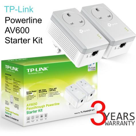 TP-Link AV600 Passthrough Powerline Starter Kit-TL-PA4010P KIT V2|600Mbps|Twin Pack Thumbnail 1