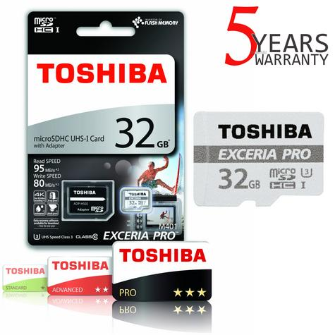 Toshiba EXCERIA PRO M401 32GB Micro SD with Adap | 95 MB/S | 4K & Full HD Record | For Phone & Camera Thumbnail 1