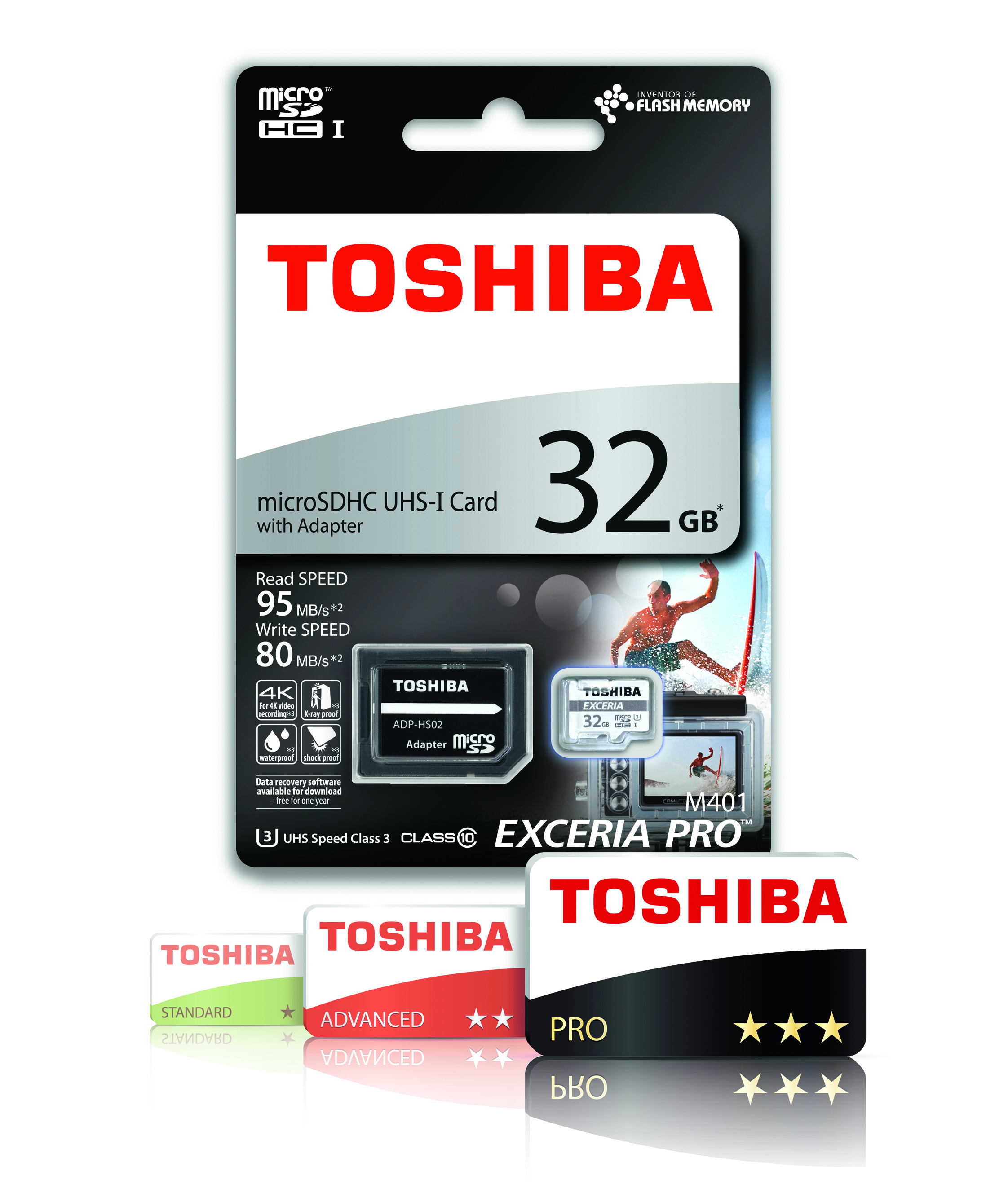 Toshiba EXCERIA PRO M401 32GB Micro SD with Adap | 95 MB/S | 4K & Full HD Record | For Phone & Camera Thumbnail 3