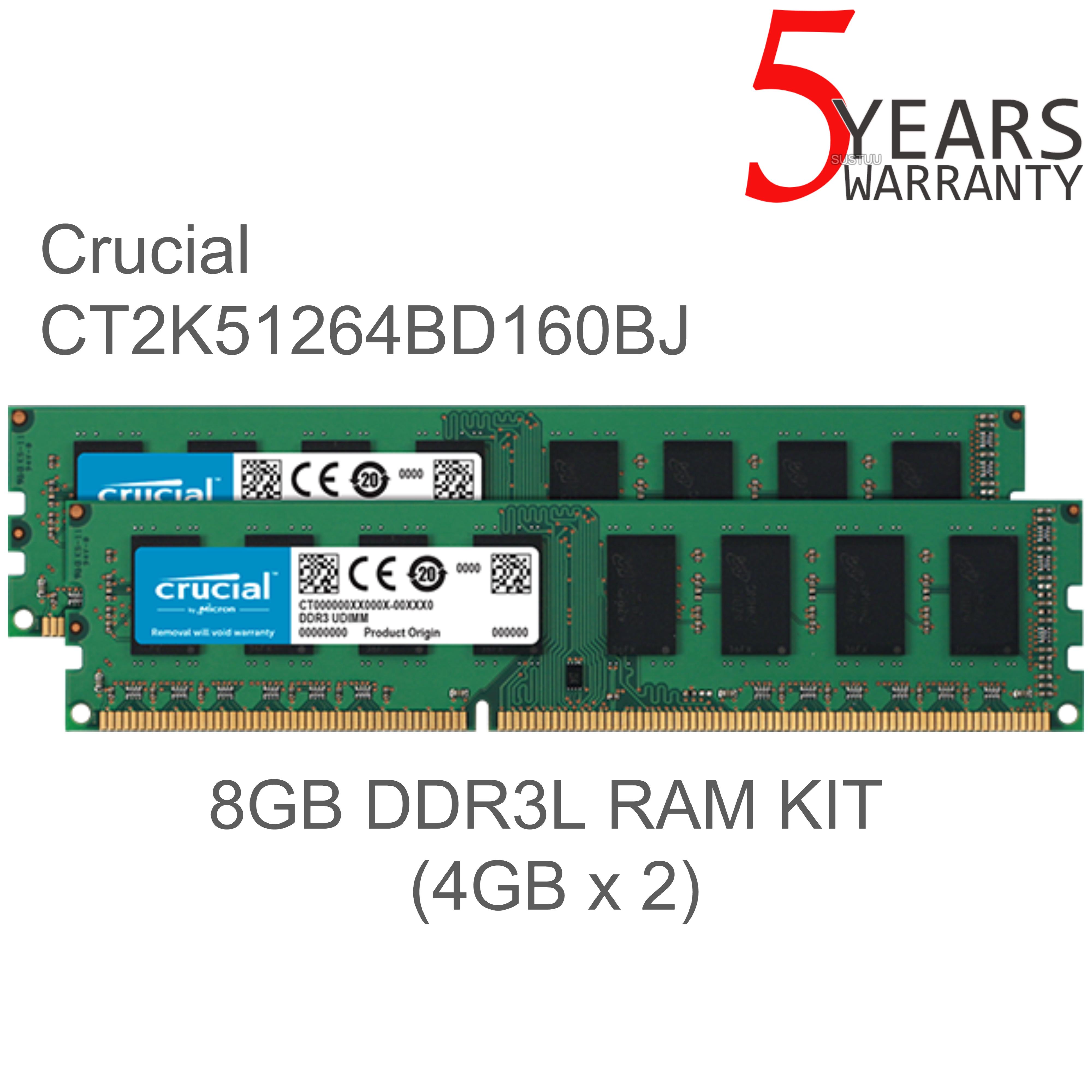 Crucial 8gb Ram Kit Ddr3l 1600 Udimm Memory Module 240 Pin