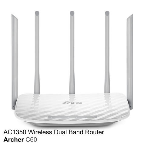TP-Link ARCHER C60|AC1350 Wireless Dual Band Router|2.4GHz - 5GHz Band WiFi|White Thumbnail 2