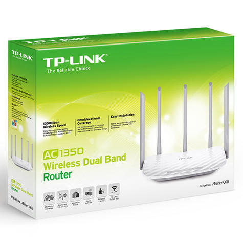TP-Link ARCHER C60|AC1350 Wireless Dual Band Router|2.4GHz - 5GHz Band WiFi|White Thumbnail 5