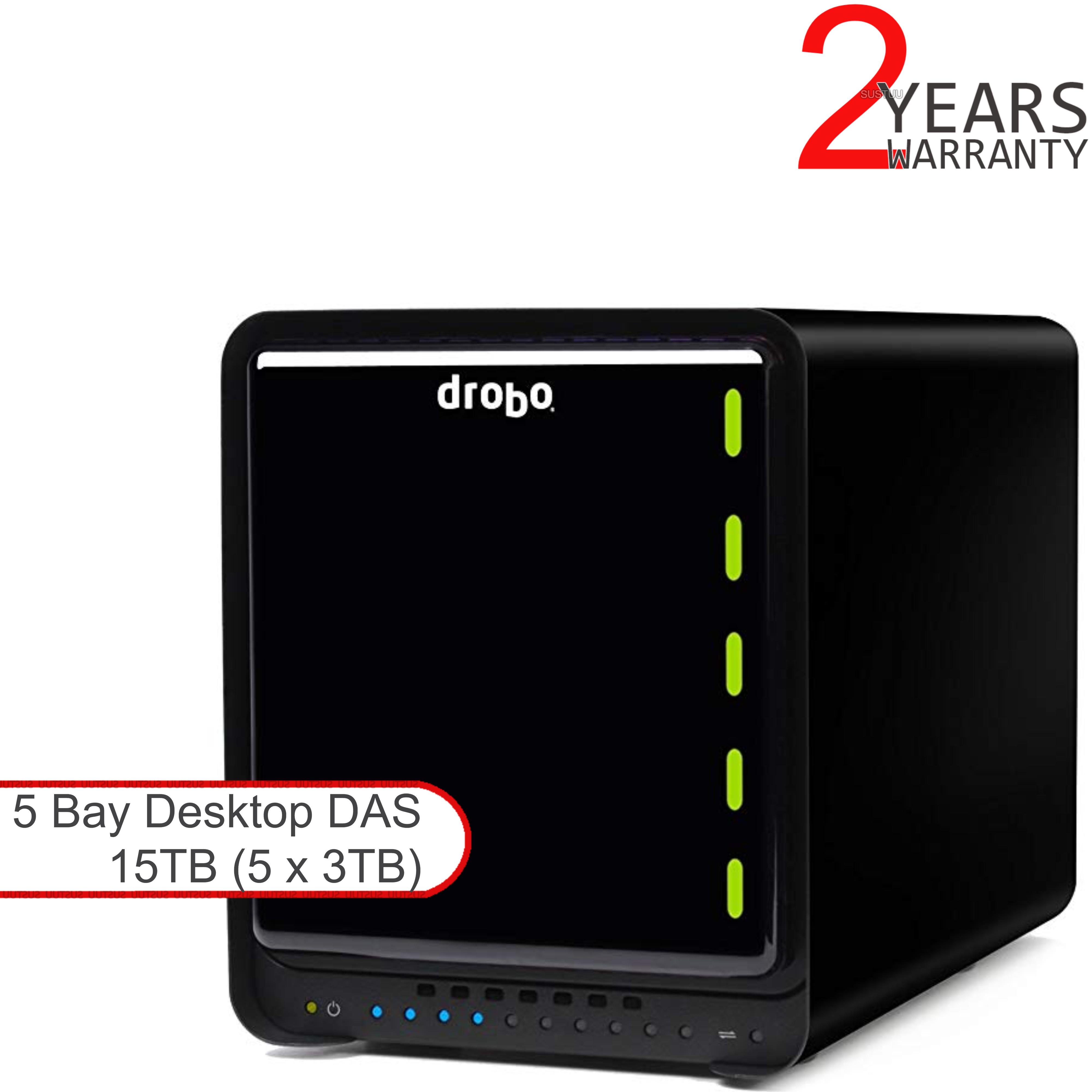 Drobo DDR4A31 15TB (5x3TB WD RED) 5 Bay DAS|Secure Storage Device|USB 3.0|Type-C