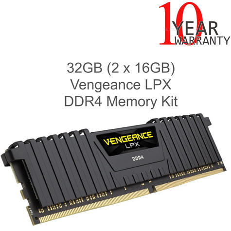 Corsair 32GB (2 x 16GB) Vengeance LPX DDR4 XMP 2.0 Desktop Memory Kit | Black | NEW Thumbnail 1