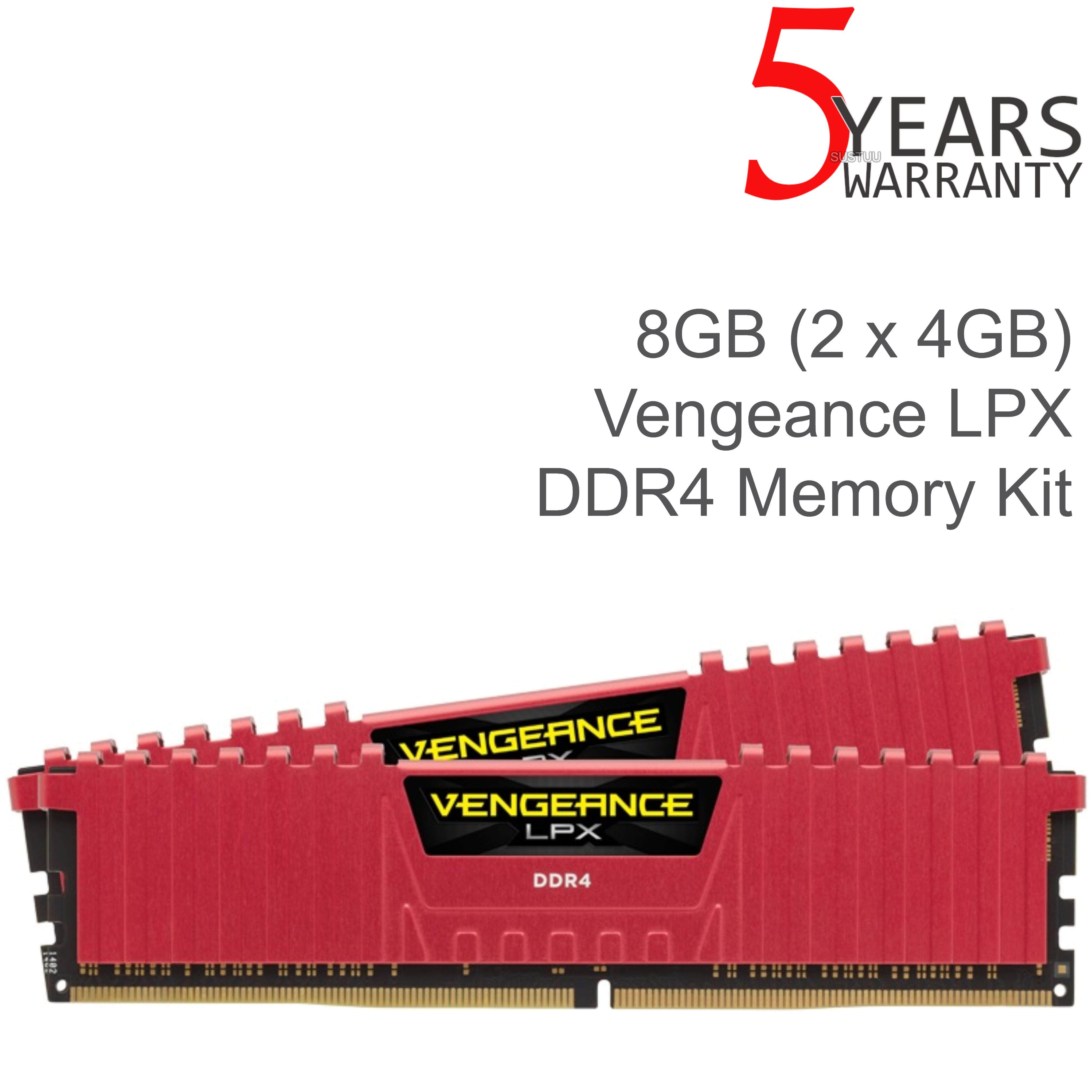 Corsair 8GB (2 x 4GB) Vengeance LPX DDR4 XMP 2.0 Desktop Memory Kit | 2400 MHz | Red