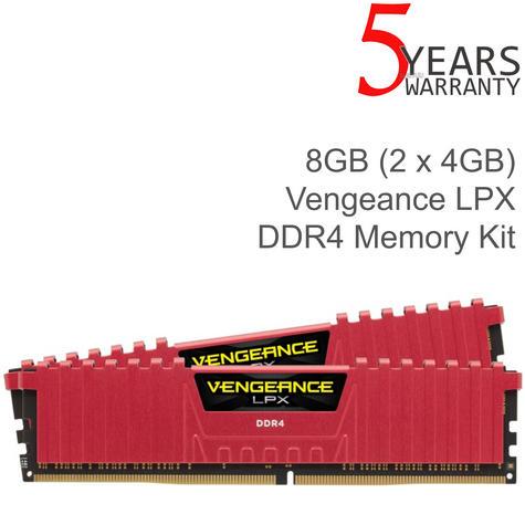 Corsair 8GB (2 x 4GB) Vengeance LPX DDR4 XMP 2.0 Desktop Memory Kit | 2400 MHz | Red Thumbnail 1