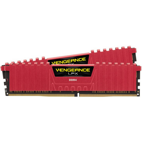 Corsair 8GB (2 x 4GB) Vengeance LPX DDR4 XMP 2.0 Desktop Memory Kit | 2400 MHz | Red Thumbnail 2