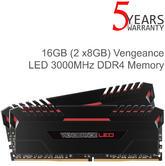 Corsair 16GB (2x8GB) Vengeance DDR4 Red LED Iluminated Memory Kit | 3000MHz | Black