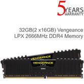 Corsair 32GB (2x 16GB) Vengeance LPX DDR4 Desktop Memory Kit | 2666 MHz | Black | NEW