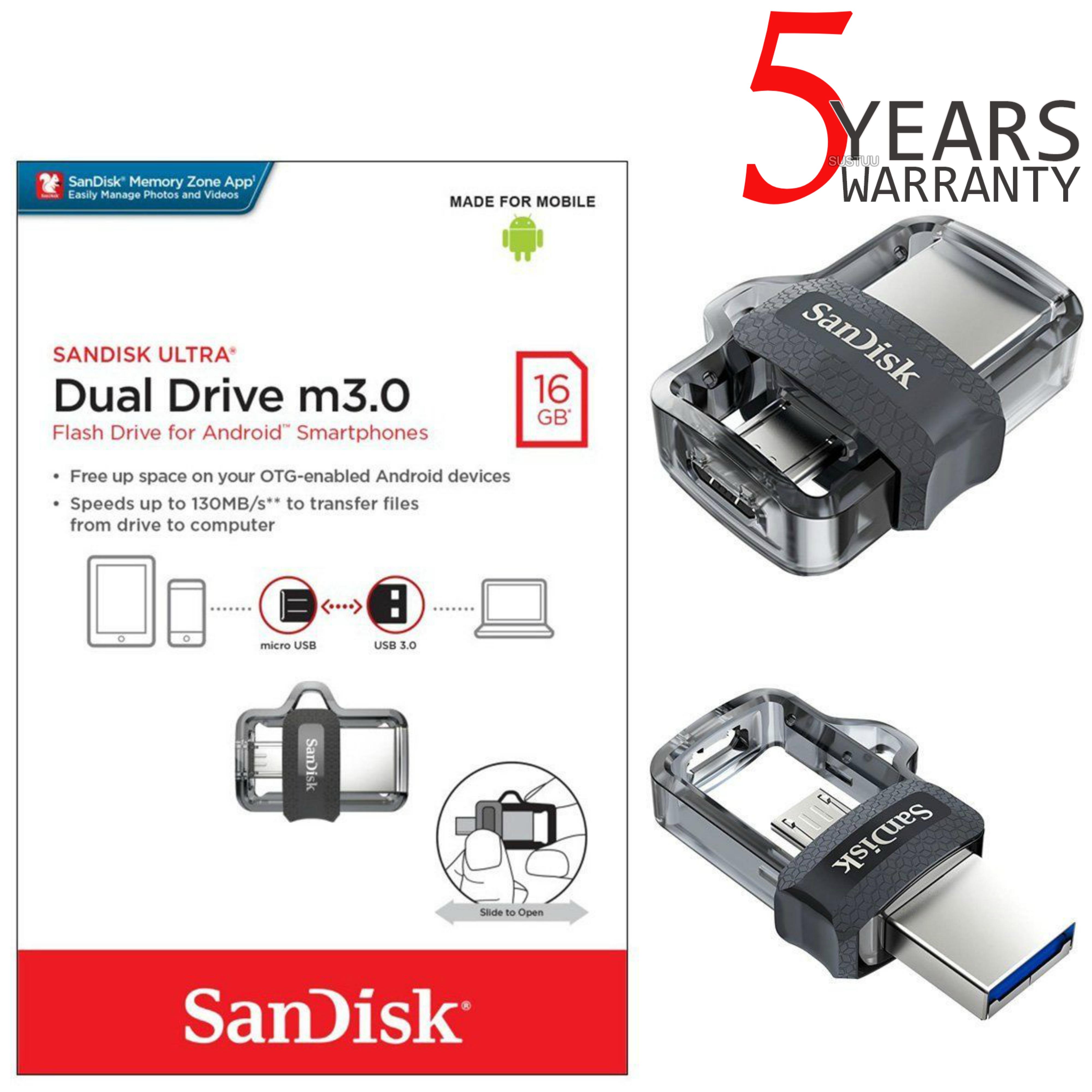 Sandisk 16gb Ultra Dual M30 Otg Micro Usb Flash Drive Memory Stick 16 Gb