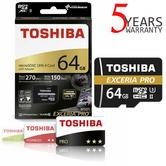 Toshiba 64GB EXCERIA PRO M501 Micro SD w/Adapter | 4K & Full HD Record | For Camera & Phone