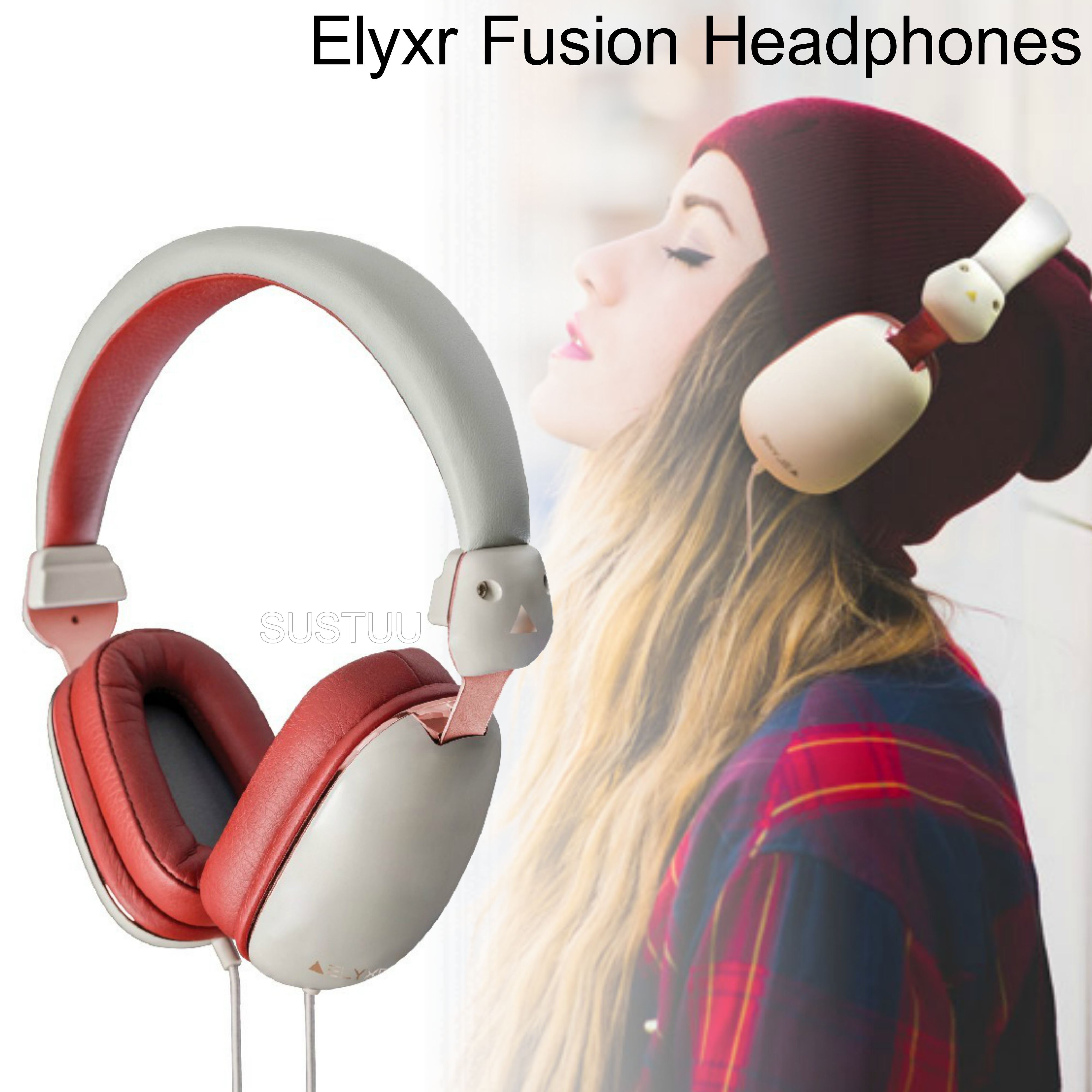 Elyxr Audio ELX-1004 Fusion On-Ear Wired Headphones|Dynamic Audio|Grey and Burgandy