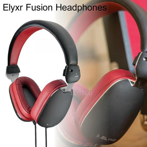 Elyxr Audio ELX-1005 Fusion On-Ear Wired Headphones|Dynamic Audio|Black and Burgandy  Thumbnail 1