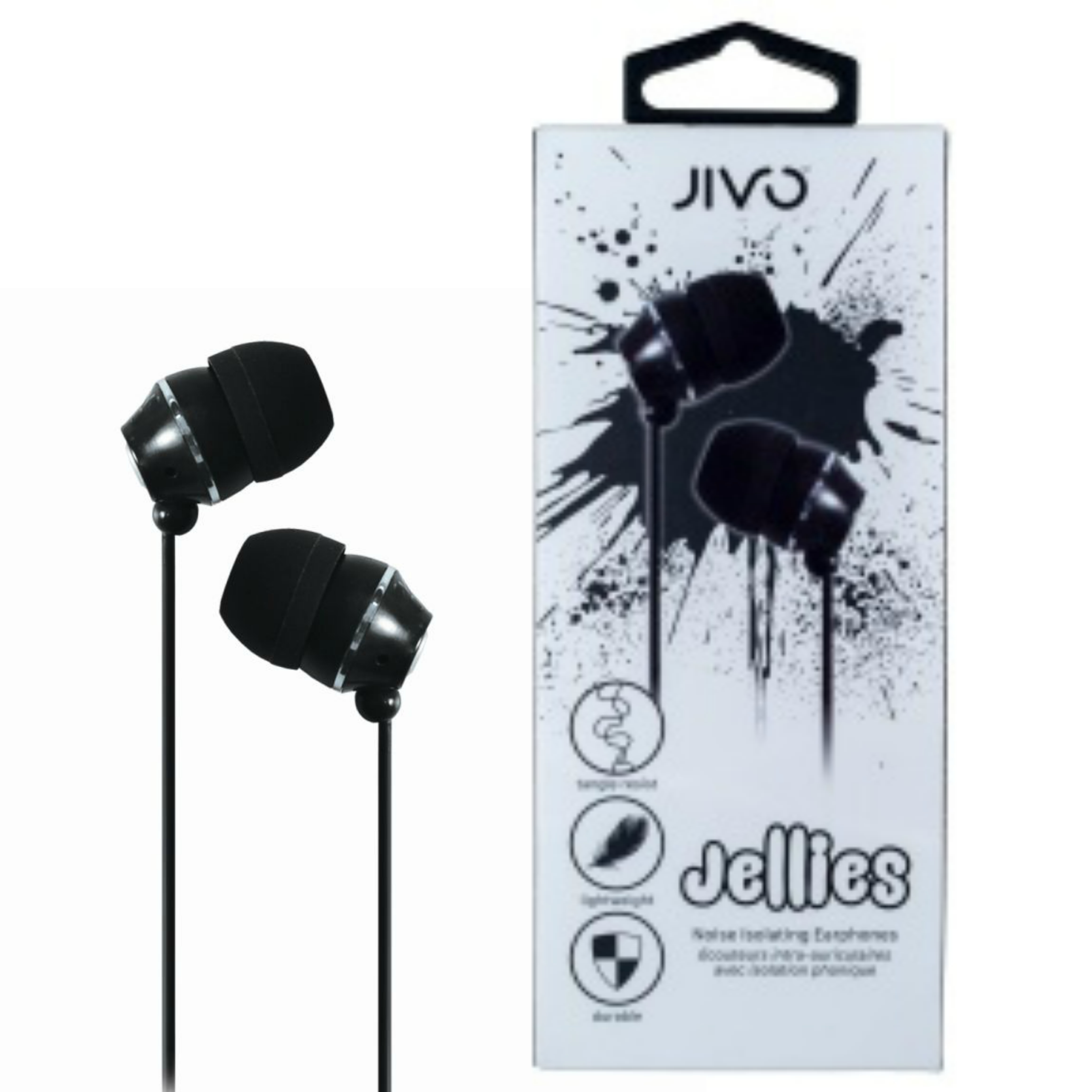Jivo JI-1060B Jellies In-Ear Noise Isolating Earphone|Soft & Comfy|Liquorice|New
