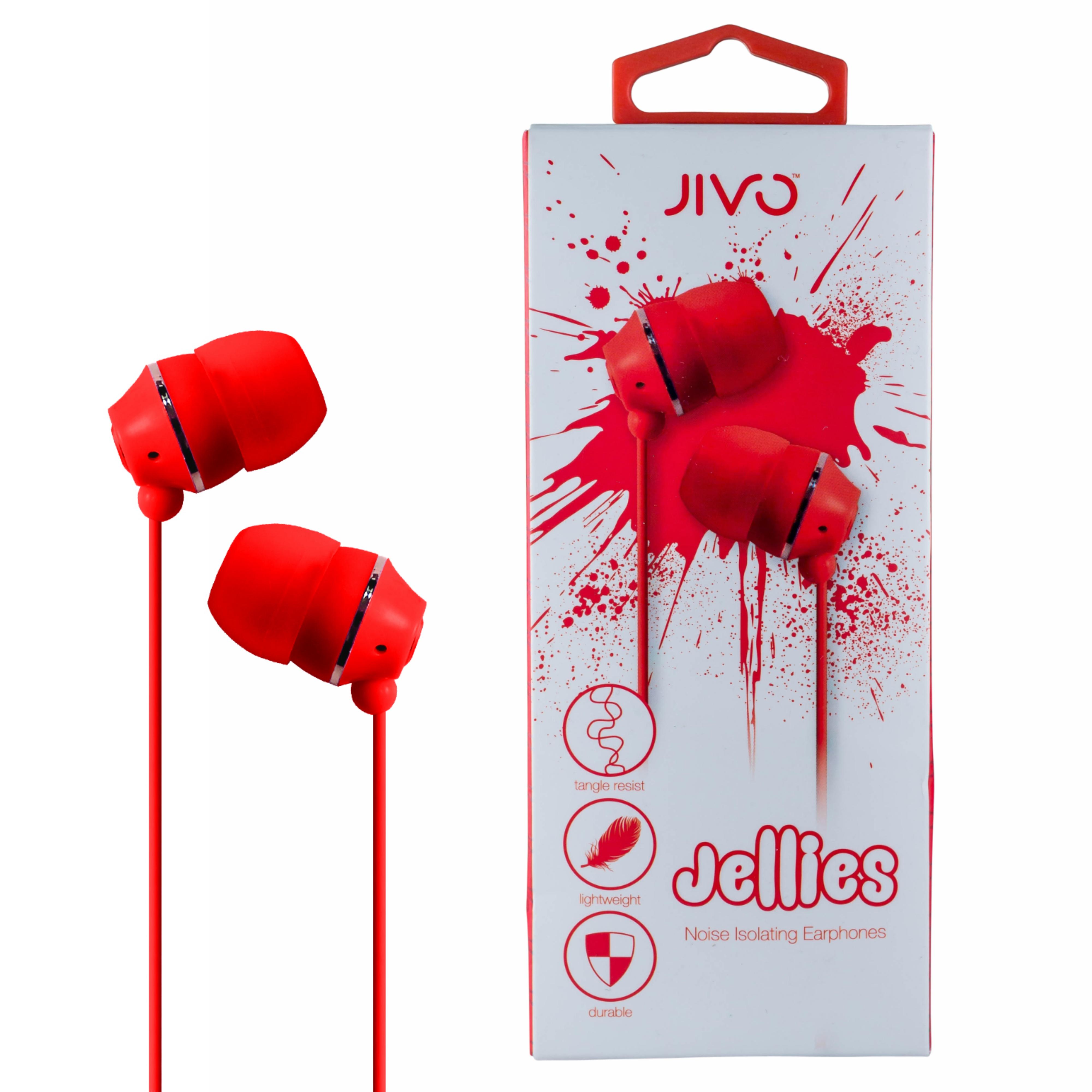 Jivo JI-1060R Jellies In-Ear Noise Isolating Earphone|Soft & Comfy|Strawberry|New